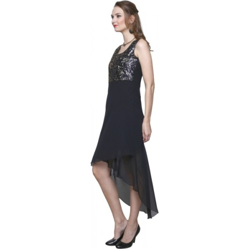 Trendsnu Women's High Low Black Dress