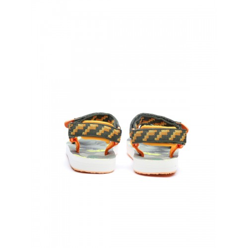 United Colors of Benetton Boys Green & Orange Patterned Comfort Sandals