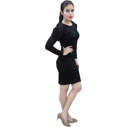 CrazeVilla Women Bodycon Black Dress