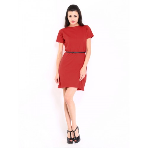 Miss Chase Red Jersey Dress with Belt