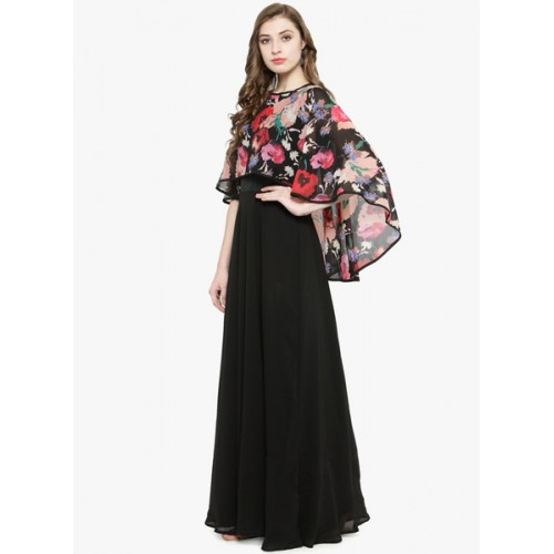 2634844e82 Buy Just Wow Black Printed Maxi Dress online