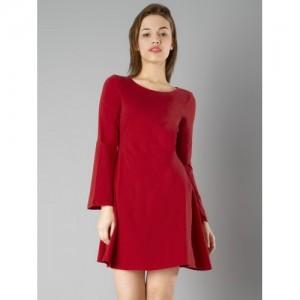 FabAlley Red Cotton Regular Fit Shift Cotton Dress
