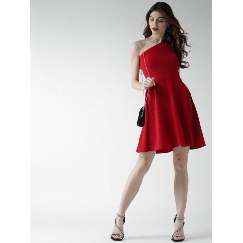 20Dresses Women Red Solid One-Shoulder Fit & Flare Dress