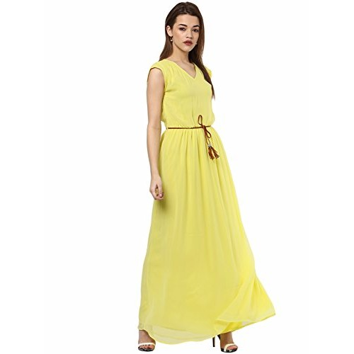 c35508588e ... La Zoire Women s Georgette Maxi Dress (Yellow LZA558-489-YL) ...