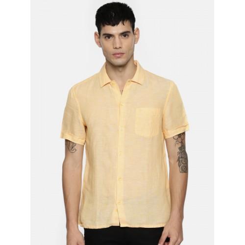 3a9dbb3162 ... Indian Terrain Men Yellow Linen Chiseled Slim Fit Solid Casual Shirt ...