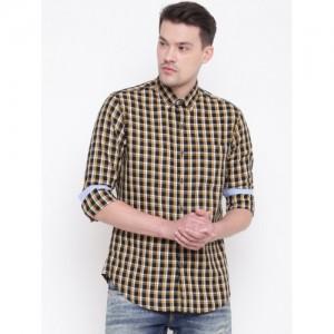 Wills Lifestyle Men Mustard Yellow & Black Slim Fit Checked Casual Shirt