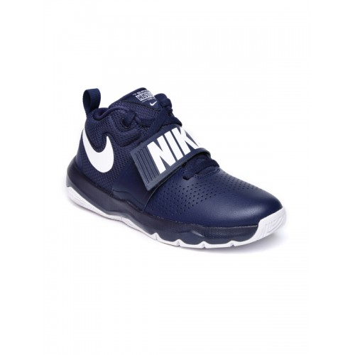 Nike Boys Navy Blue TEAM HUSTLE D 8 Leather Mid-Top Basketball Shoes