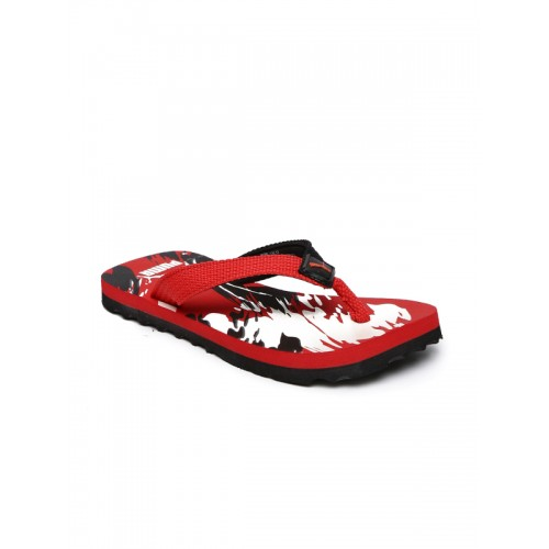 Puma Kids Black & Red Printed Thong Flip-Flops