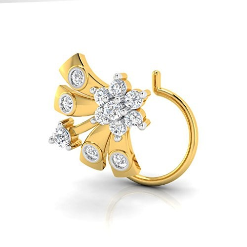 Buy Pristine Fire Yellow Gold And Diamond Nose Pin For Women