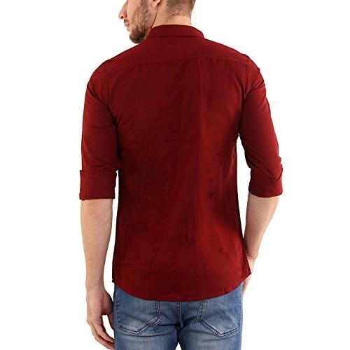 SHADE 45 Men's Premium designed Cotton Full Sleeve Slim fit Maroon color Plain Shirt(SHD45-00036)