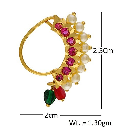 Vama Fashions Multicolor Gold Plated Unpierced Nose Clip-On Nose Ring For Women
