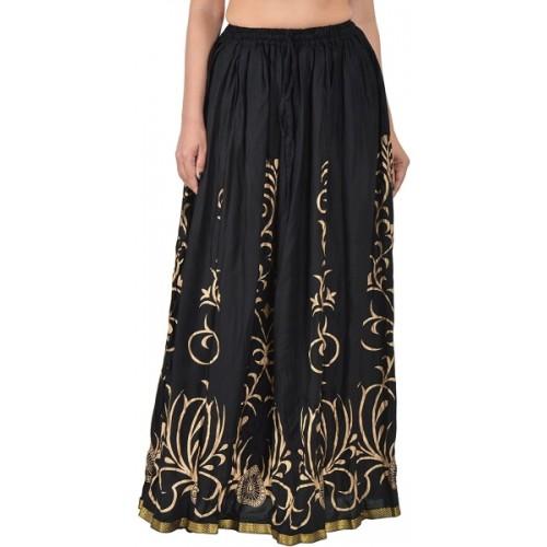 Magnus Printed Women Straight Black Skirt