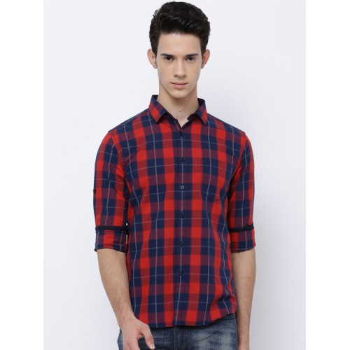 HIGHLANDER Men Navy Blue & Red Slim Fit Checked Casual Shirt