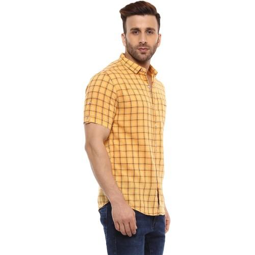 Mufti Mufti Mustard Slim Fit Checks Shirt