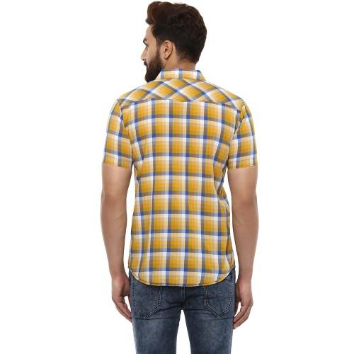 Mufti Mufti Mustard Checks Half Sleeves Shirt