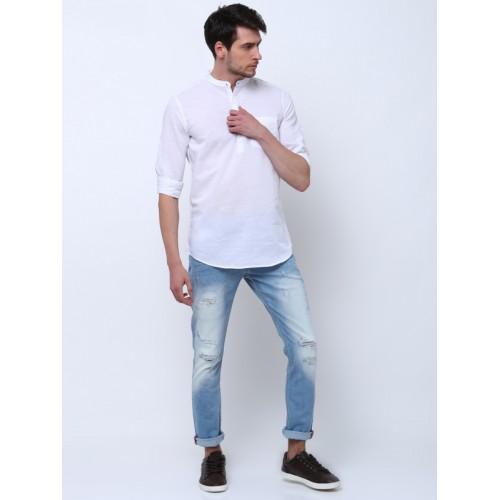 Highlander Men's Self Design Casual Mandarin Shirt