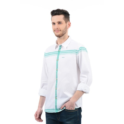 Pepe Jeans Pepe Jeans White & Blue Regular Fit Shirt