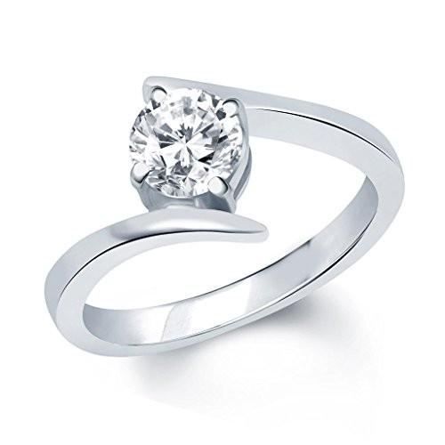 V. K. Jewels Surprise Delight Silver Brass Alloy Cz American Diamond Ring For Women Vkfr1028R8