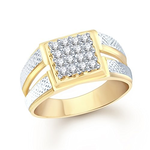 VK Jewels Magnificent Gold and Rhodium Plated (CZ) Ring - FR1104G [VKFR1104G]