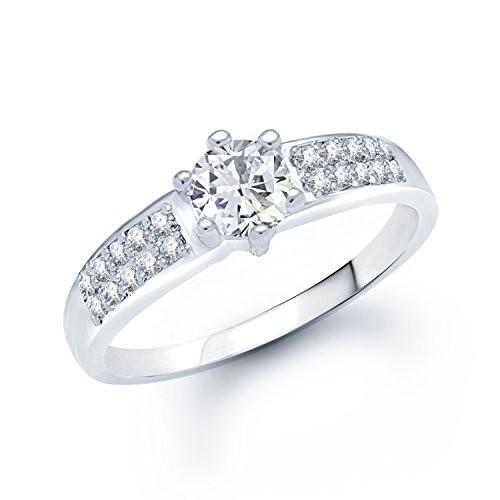 VK Jewels Well Design Rhodium Plated (CZ) Ring - FR1061R [VKFR1061R]