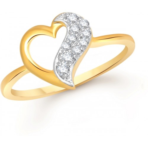 Divastri Open Heart Alloy Cubic Zirconia 18K Yellow Gold Plated Ring