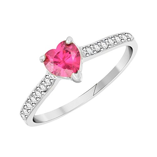 VK Jewels Ruby Heart Rhodium Plated Alloy Ring for Women & Girls Made With Cubic Zirconia- FR2543R [VKFR2543R]