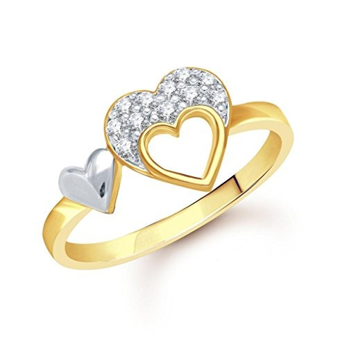 VK Jewels Double Heart Gold and Rhodium Plated Ring- FR1268G [VKFR1268G]