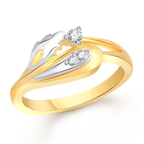 VK Jewels Stylish Leaf Gold and Rhodium Plated Ring- FR1801G [VKFR1801G]