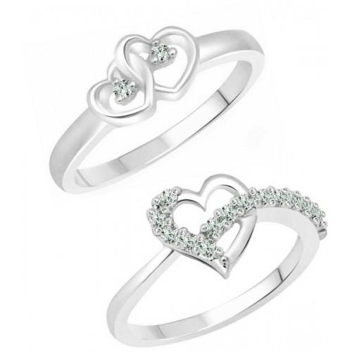 Vighnaharta Valentine Graceful Heart Combo Rings for Women and Girls [1047FRR-1076FRR] Alloy Cubic Zirconia 18K White Gold Plated Ring Set