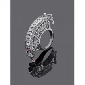 Studio Voylla Women Silver Toned Cubic Zirconia Studded Statement Ring
