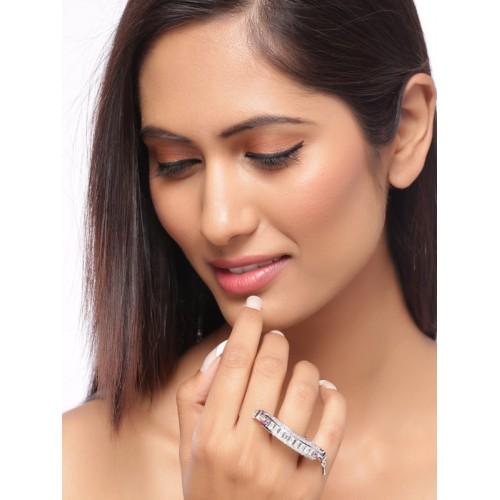 Studio Voylla Women Silver Toned Cubic Zirconia Studded Statement Ring
