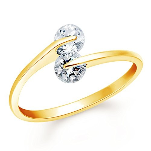 VK Jewels One Love Gold Plated Alloy CZ American Diamond Ring for Women [VKFR2657G]
