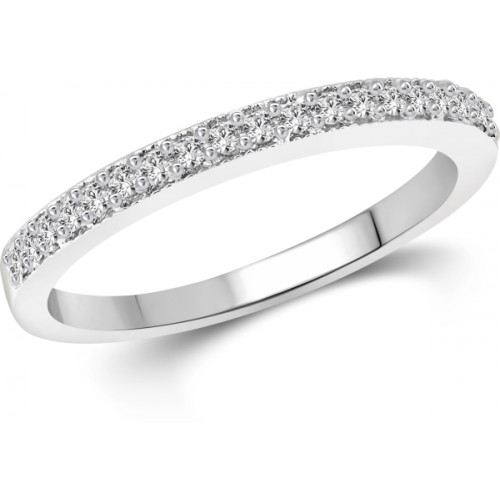 Vighnaharta Half Round Cz Alloy Cubic Zirconia 18K White Gold Plated Ring