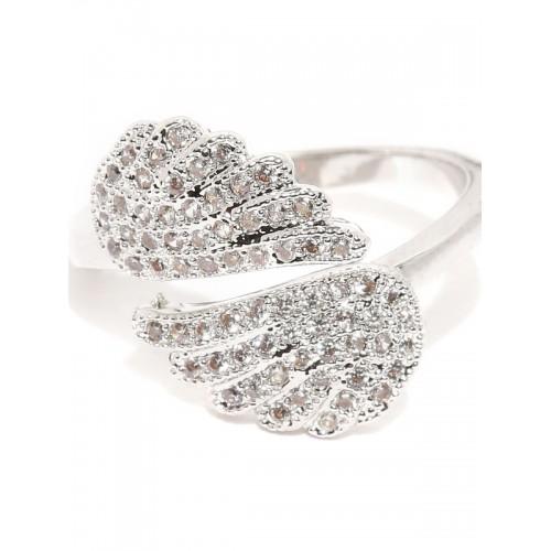 677f0322b Buy Rubans Silver-Toned Swarovski Crystal-Studded Ring online ...
