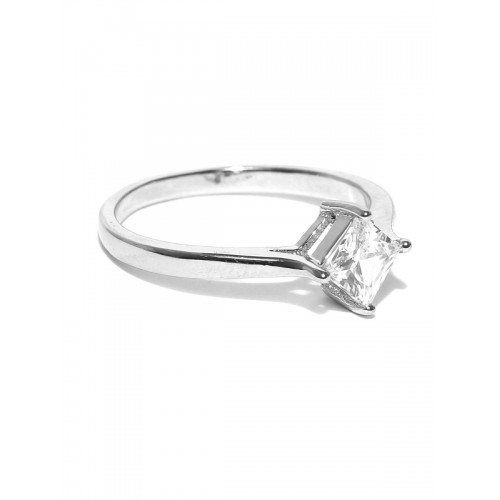 OOMPH Silver-Plated Cubic Zirconia Stone-Studded Ring