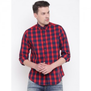 Wills Lifestyle Men Red & Navy Blue Slim Fit Checked Casual Shirt