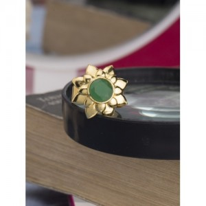 Voylla Gold-Plated Stone-Studded Adjustable Ring