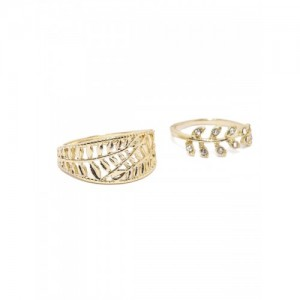 Accessorize Set of 2 Gold-Toned Textured Rings