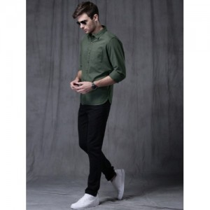 Wrogn Green Solid Slim Fit Casual Shirt