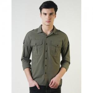 Blue Saint Men Olive Green Smart Slim Fit Solid Casual Shirt