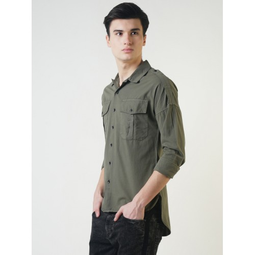 17969f4f ... Blue Saint Men Olive Green Smart Slim Fit Solid Casual Shirt ...