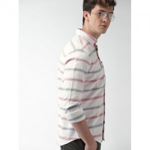 Harvard Men White & Red Slim Fit Striped Casual Shirt