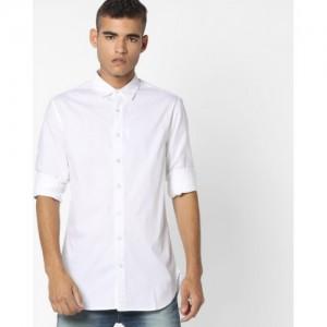 Blue Saint Slim Fit Shirt with Curved Hemline