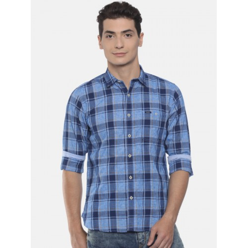 Pepe Jeans Men Blue Regular Fit Checked Casual Shirt