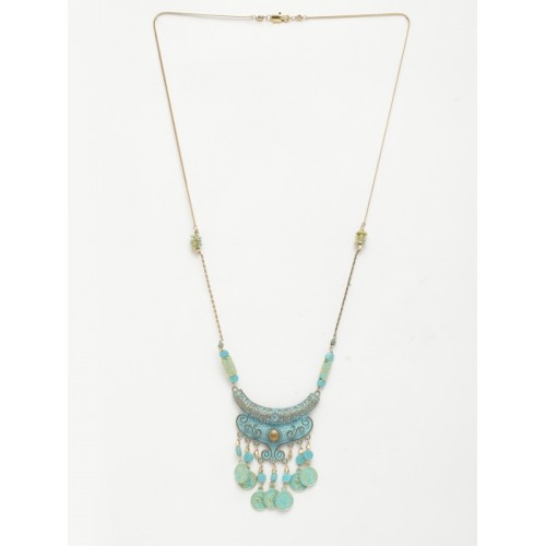 DIVA WALK Gold-Toned & Blue Metal Handcrafted Necklace