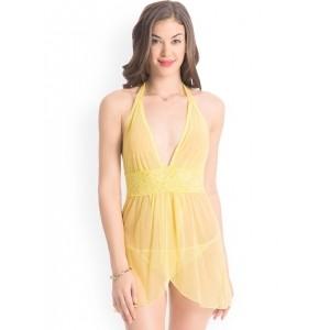 PrettySecrets Yellow Sheer Baby-Doll Babydoll Nightdress