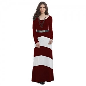 Texco Maroon Cotton Full Sleeve Casual Maxi Dress With Belt