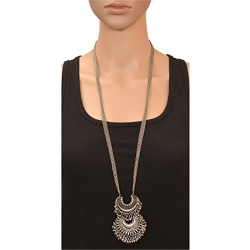 Zephyrr Fashion Turkish German Silver Beaded Pendant Long Necklace for Women and Girls