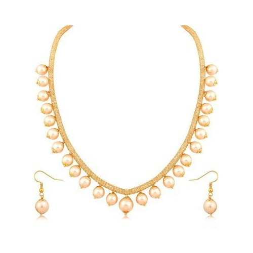 YouBella Jewellery Pearl Traditional Necklace set for women party wear Jewellery set with Earrings for Girls and Women
