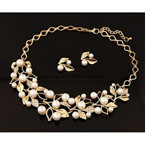 Shining Diva  Plated Pearl Necklace Set with Fancy Party Wear Earrings
